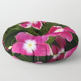 Red and Pink Garden Flowers in Dappled Light Floor Pillow