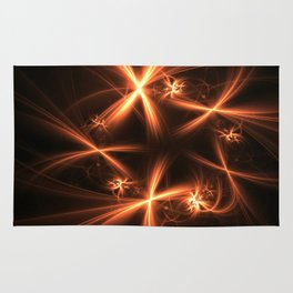 Orange abstract fractal as firework. Holiday theme. Rug