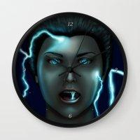 lightning Wall Clocks featuring Lightning by Egberto Fuentes