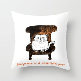Everywhere is a Scratching Post (Orange) Throw Pillow
