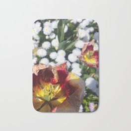 Withering Flowers Amongst Blossoming White Flowers Bath Mat
