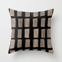 Brush Strokes Vertical Lines Nude on Black Throw Pillow