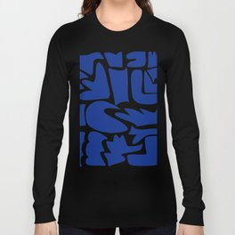 Blue shapes on white background Long Sleeve T-shirt