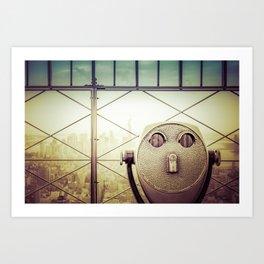 New York City Skyline Tourist Binoculars Art Print