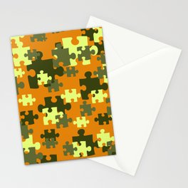 Puzzle green orange pattern Stationery Cards