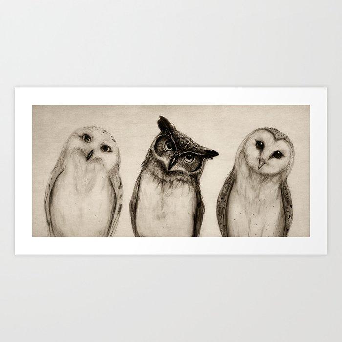The Owl's 3 Art Print
