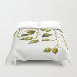 Golden Pothos - Botanical ink painting Duvet Cover