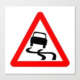 Danger SkiddingTraffic Sign Isolated Canvas Print