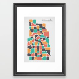 Minneapolis Minnesota Map with neighborhoods and modern round shapes Framed Art Print