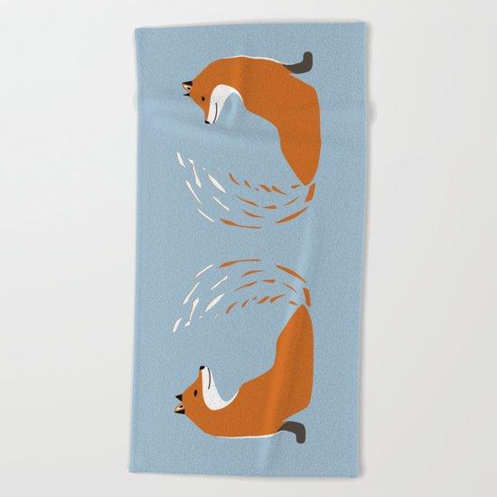 Foxy Takes The Pose Beach Towel