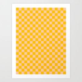 Deep Peach Orange and Amber Orange Checkerboard Art Print