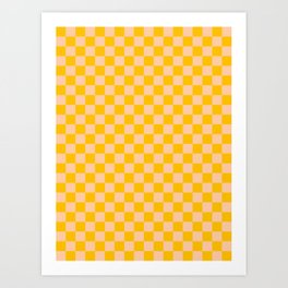 Deep Peach Orange and Amber Orange Checkerboard Kunstdrucke