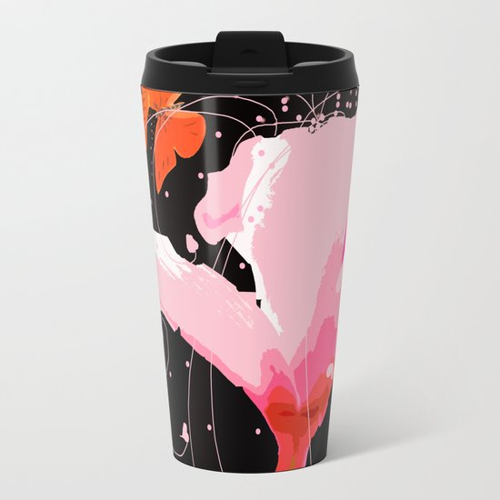 Creativity play - butterflies and flowers on a black background Metal Travel Mug