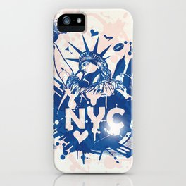 new york city background with statue of liberty iPhone Case