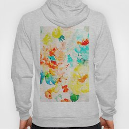 Watercolor Abstract Floral Pattern Red Orange Blue Roses Hoody