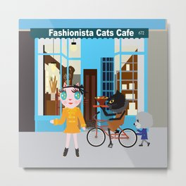 FASHIOINISTA CATS CAFE Metal Print