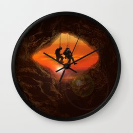 Sunset Climbers Wall Clock