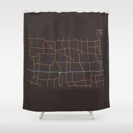 North Dakota Highways Shower Curtain