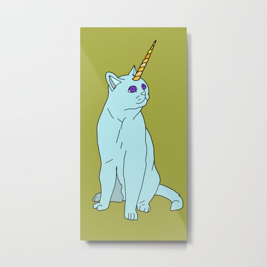 Uni Cat - Baby Blue Metal Print