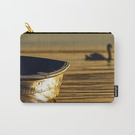 Rowing boat and swan sunset reflections Carry-All Pouch