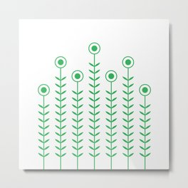 Minimalist Flowers (Classic Green) Metal Print