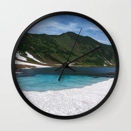 Fantastically summer mountain landscape of Kamchatka Peninsula: Blue Lake, snow and ice along shores Wall Clock