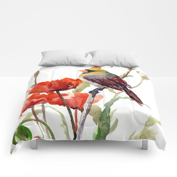 Cardinal Bird And Poppy Flowers Comforters