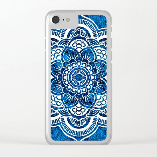 Mandala Cerulean Blue Colorburst Clear iPhone Case