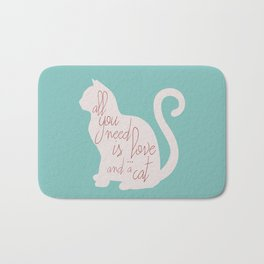 Shabby chic illustration - all you need is love (and a CAT), typography, interior design, cats, love Bath Mat