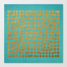 Gold Dots on Turquoise Canvas Print