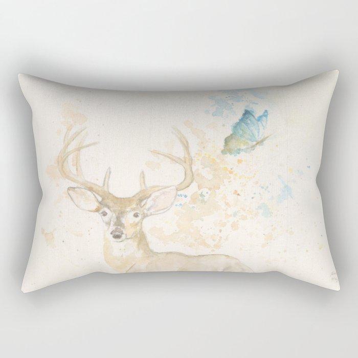 Deer and butterfly Rectangular Pillow