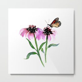 Monarch Butterfly with Echinacea Metal Print