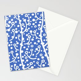Mid Century Modern Spring Blossoms Blue Stationery Cards