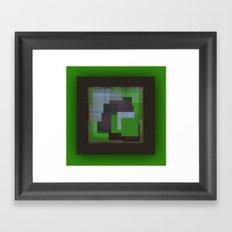 Green Color Geometry Framed Art Print
