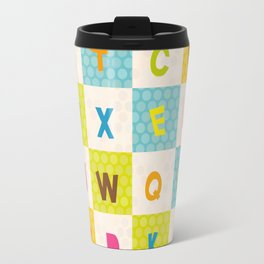 alphabet  from A to Z. Polka dot background with green blue orange square Travel Mug