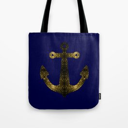 Yellow Gold sparkles Anchor on Dark navy blue Tote Bag