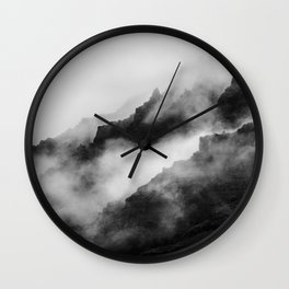 Foggy Mountains Black and White Wall Clock
