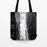 pivot Tote Bags featuring Side street sway pivot walk link pan treatment. by Juan Antonio Zamarripa [Esqueda]