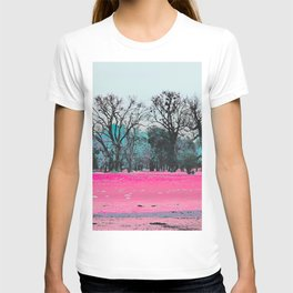 This is what happens when you cover an entire garden with fluorescent ink. T-shirt