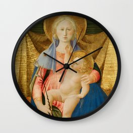 The Madonna of Humility with Two Musician Angels Wall Clock