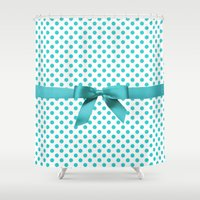polkadot Shower Curtains featuring Blue Tiffany Polkadot by albert Junior