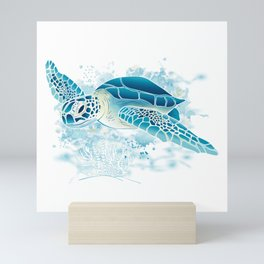 Sea Turtle - Blue Mini Art Print