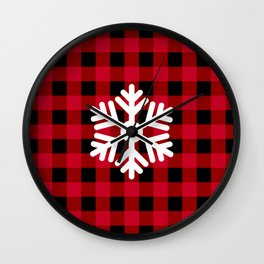 Red Buffalo Check - snowflake - more colors Wall Clock
