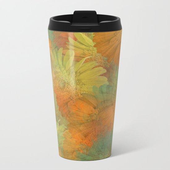 Floral Orange-Yellow-Green Metal Travel Mug