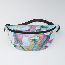 Cool Blue Vibrant Cosmos watercolor by CheyAnne Sexton Fanny Pack