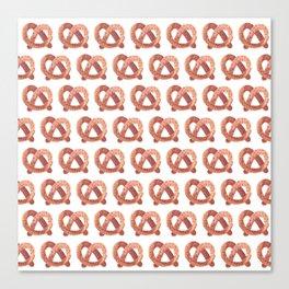 Pretzel watercolor pattern Canvas Print