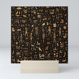 Ancient Egyptian Hieroglyphics Obsidian Copper Mini Art Print