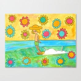 hang 10 groovy surf dude flower power Canvas Print