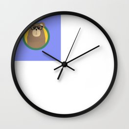 Nerd Brown Bear with cirlce Wall Clock