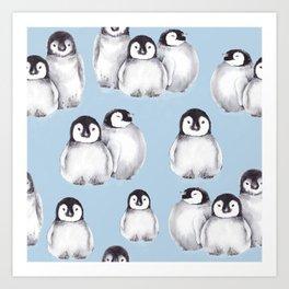 Penguin pattern on blue Art Print